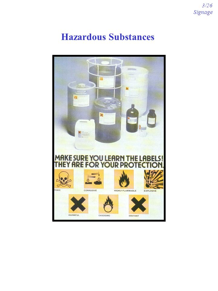 Hazardous Substances 3/26 Signage