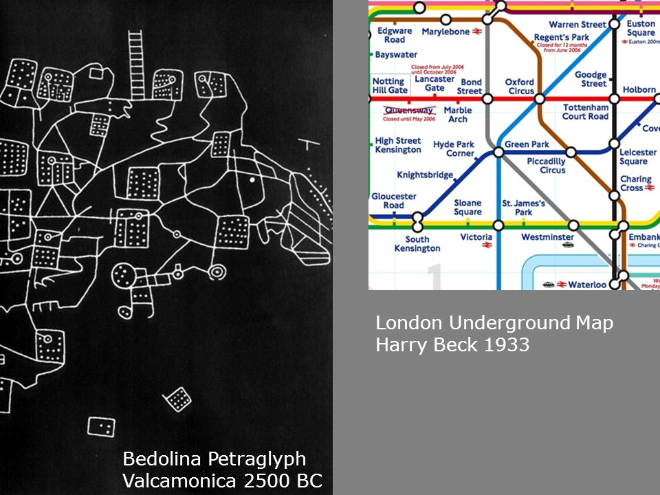 Bedolina Petraglyph Valcamonica 2500 BC London Underground Map Harry Beck 1933