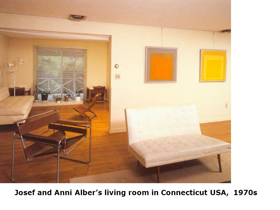 Josef and Anni Albers living room in Connecticut USA, 1970s