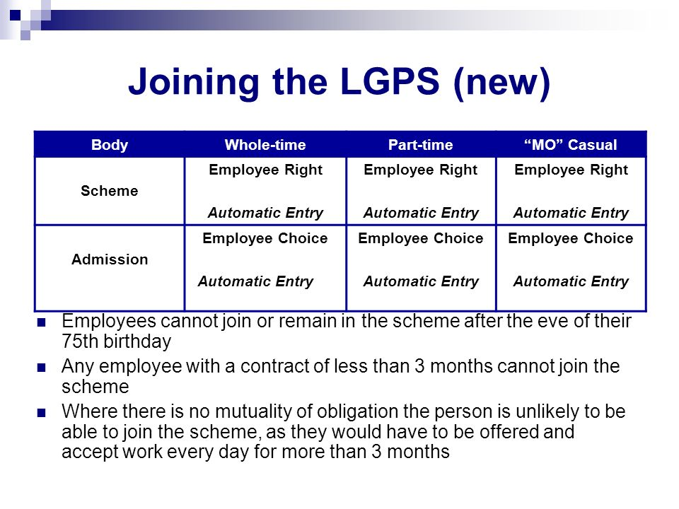 Joining the LGPS (new) Employees cannot join or remain in the scheme after the eve of their 75th birthday Any employee with a contract of less than 3 months cannot join the scheme Where there is no mutuality of obligation the person is unlikely to be able to join the scheme, as they would have to be offered and accept work every day for more than 3 months BodyWhole-timePart-timeMO Casual Scheme Employee Right Automatic Entry Employee Right Automatic Entry Employee Right Automatic Entry Admission Employee Choice Automatic Entry Employee Choice Automatic Entry Employee Choice Automatic Entry