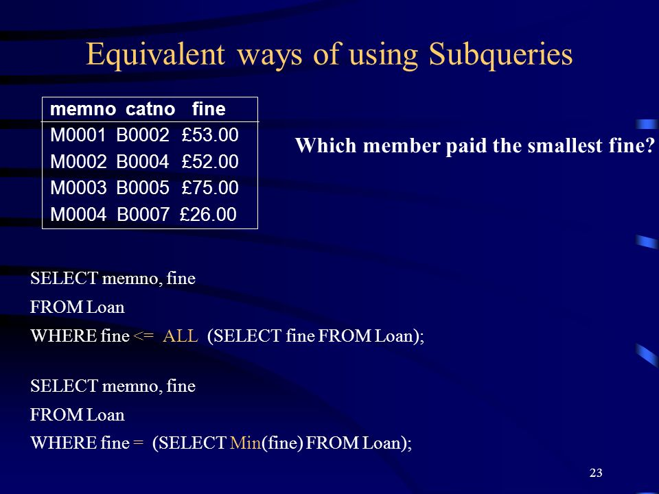 23 Equivalent ways of using Subqueries SELECT memno, fine FROM Loan WHERE fine <= ALL (SELECT fine FROM Loan); SELECT memno, fine FROM Loan WHERE fine