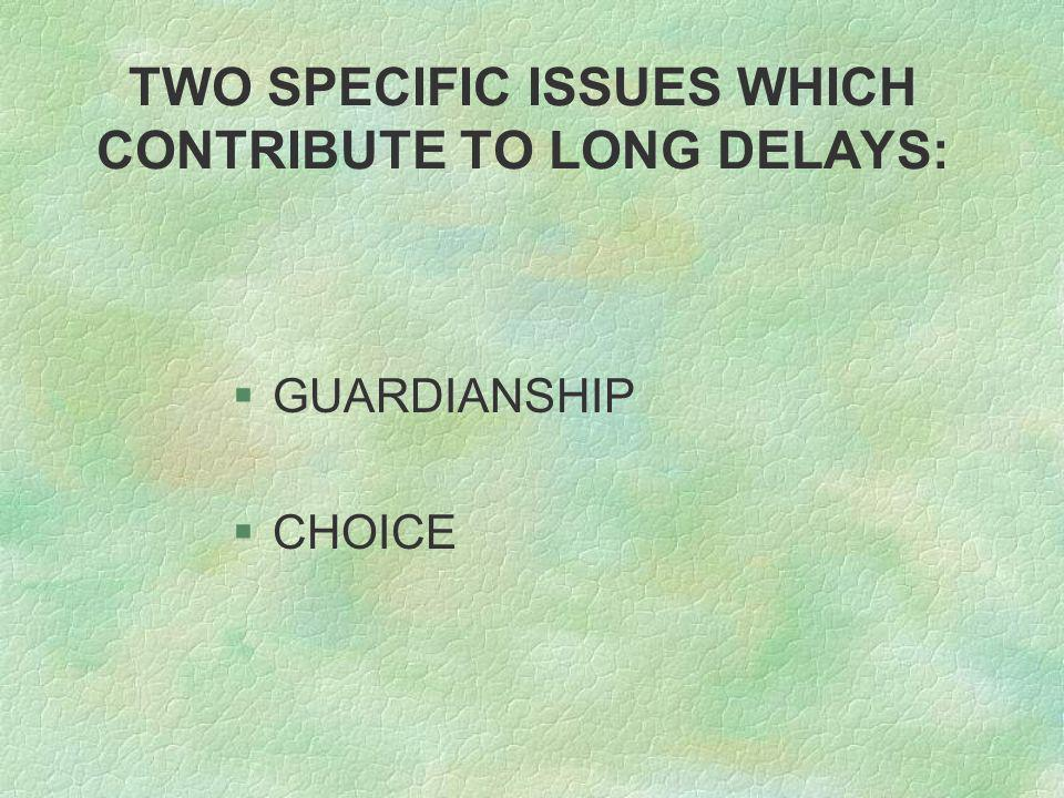 TWO SPECIFIC ISSUES WHICH CONTRIBUTE TO LONG DELAYS: §GUARDIANSHIP §CHOICE