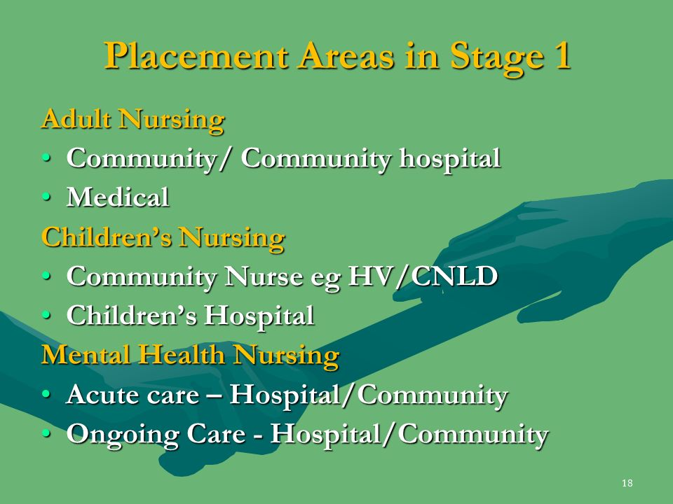 Placement Areas in Stage 1 Adult Nursing Community/ Community hospitalCommunity/ Community hospital MedicalMedical Childrens Nursing Community Nurse e