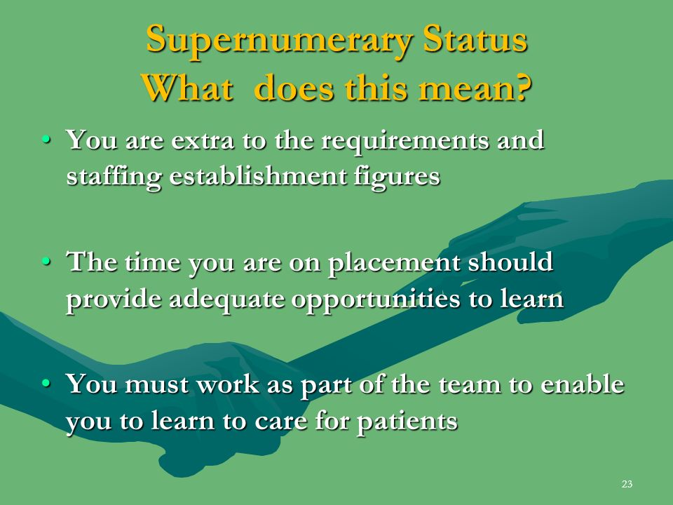 Supernumerary Status What does this mean? You are extra to the requirements and staffing establishment figuresYou are extra to the requirements and st