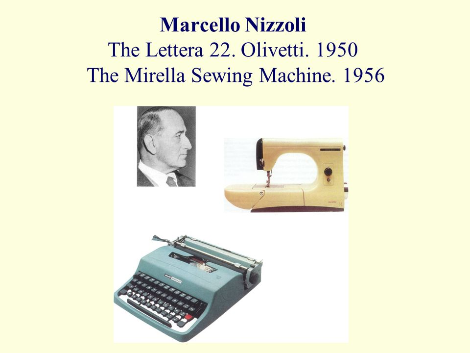Marcello Nizzoli The Lettera 22. Olivetti The Mirella Sewing Machine. 1956