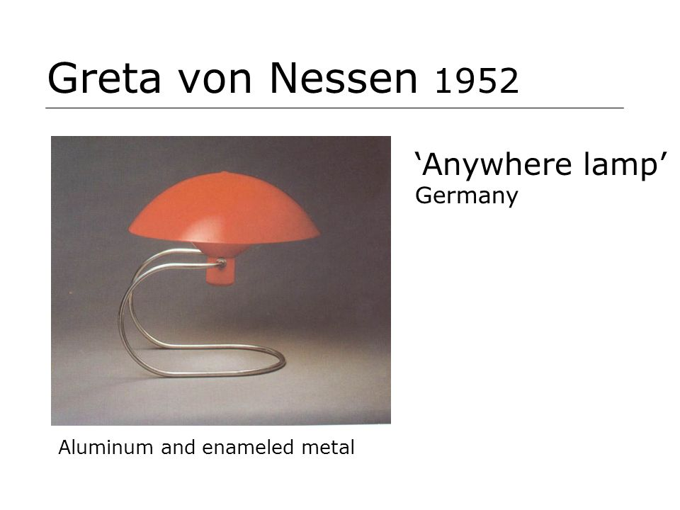 Greta von Nessen 1952 Aluminum and enameled metal Anywhere lamp Germany