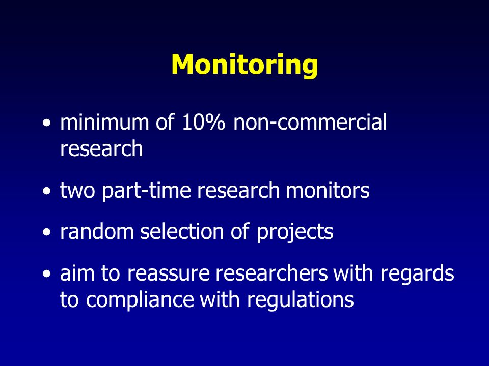 Monitoring minimum of 10% non-commercial research two part-time research monitors random selection of projects aim to reassure researchers with regards to compliance with regulations
