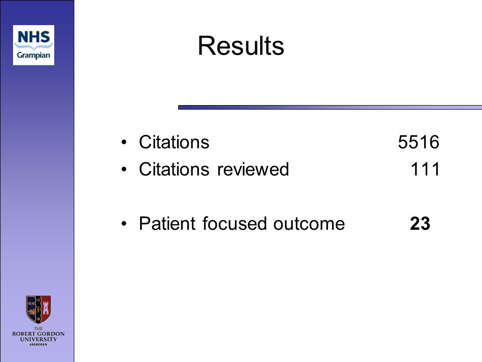 Results Citations 5516 Citations reviewed111 Patient focused outcome 23