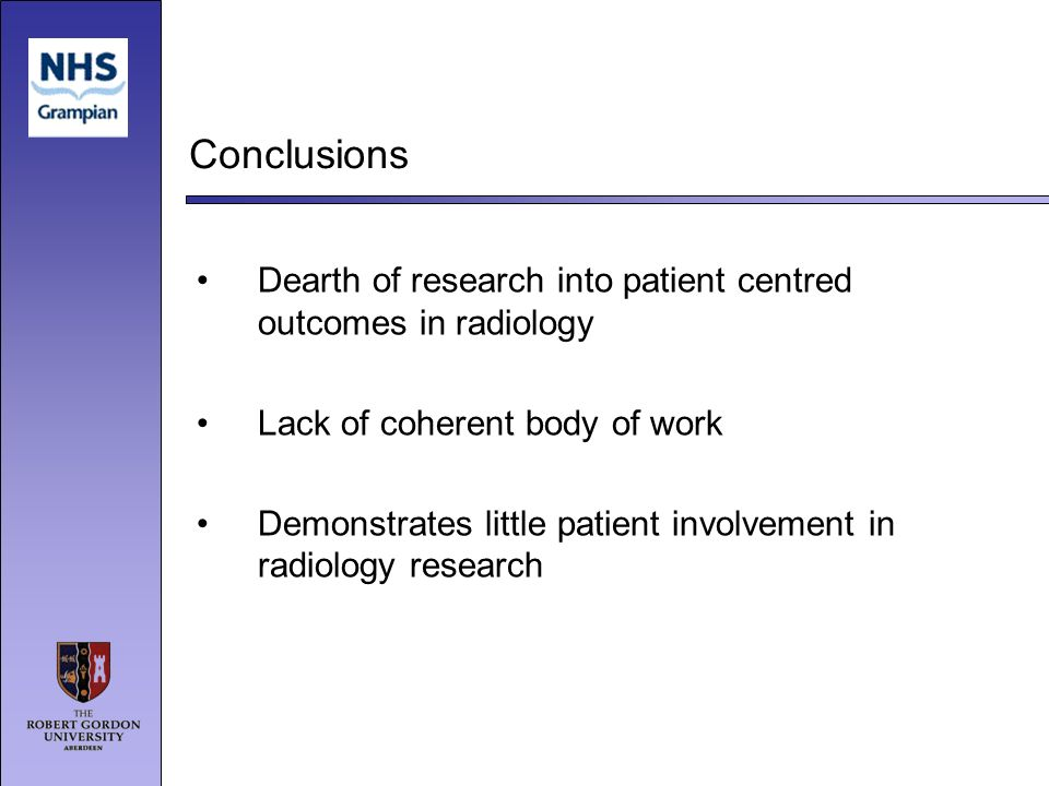 Conclusions Dearth of research into patient centred outcomes in radiology Lack of coherent body of work Demonstrates little patient involvement in rad