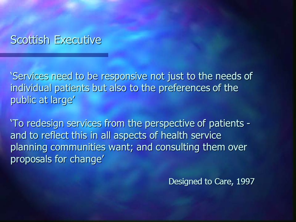 Patients/Public: Who represents them.Its very difficult (to consult).