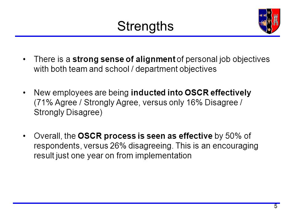 5 Strengths There is a strong sense of alignment of personal job objectives with both team and school / department objectives New employees are being inducted into OSCR effectively (71% Agree / Strongly Agree, versus only 16% Disagree / Strongly Disagree) Overall, the OSCR process is seen as effective by 50% of respondents, versus 26% disagreeing.