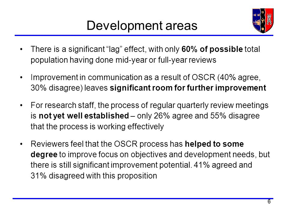 6 Development areas There is a significant lag effect, with only 60% of possible total population having done mid-year or full-year reviews Improvemen