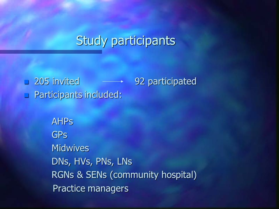 Study participants n 205 invited 92 participated n Participants included: AHPsGPsMidwives DNs, HVs, PNs, LNs RGNs & SENs (community hospital) Practice managers Practice managers