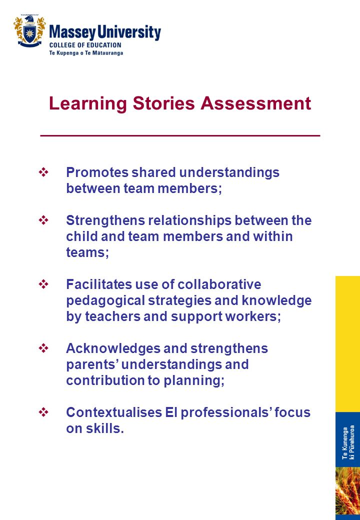 Promotes shared understandings between team members; Strengthens relationships between the child and team members and within teams; Facilitates use of collaborative pedagogical strategies and knowledge by teachers and support workers; Acknowledges and strengthens parents understandings and contribution to planning; Contextualises EI professionals focus on skills.