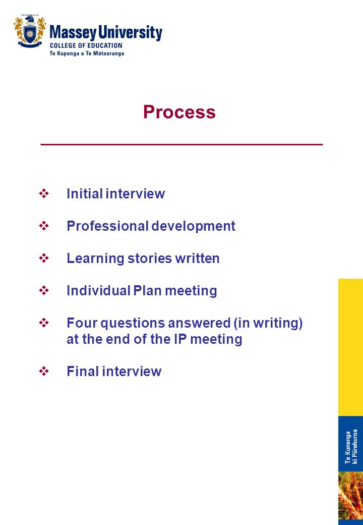 Initial interview Professional development Learning stories written Individual Plan meeting Four questions answered (in writing) at the end of the IP meeting Final interview Process
