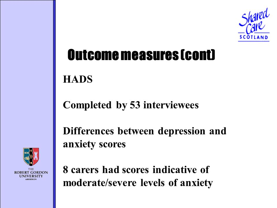 HADS Completed by 53 interviewees Differences between depression and anxiety scores 8 carers had scores indicative of moderate/severe levels of anxiety Outcome measures (cont)