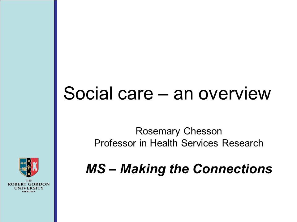 Social care – an overview Rosemary Chesson Professor in Health Services Research MS – Making the Connections