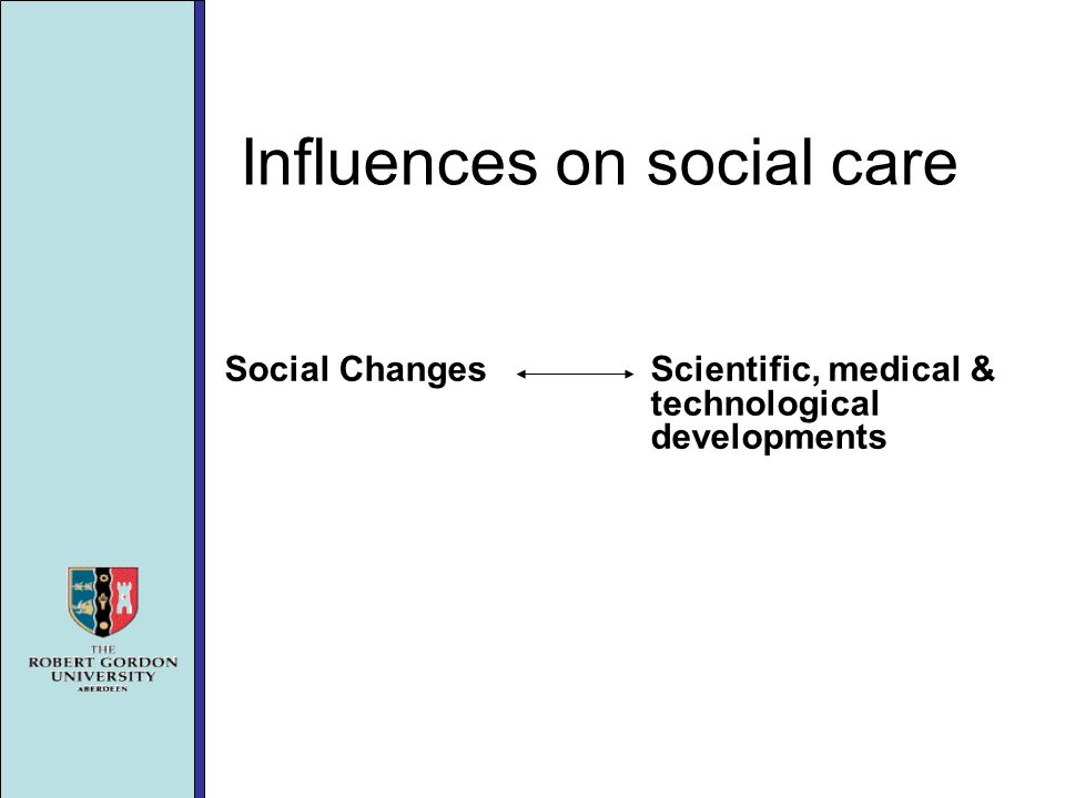 Influences on social care Social Changes Scientific, medical & technological developments