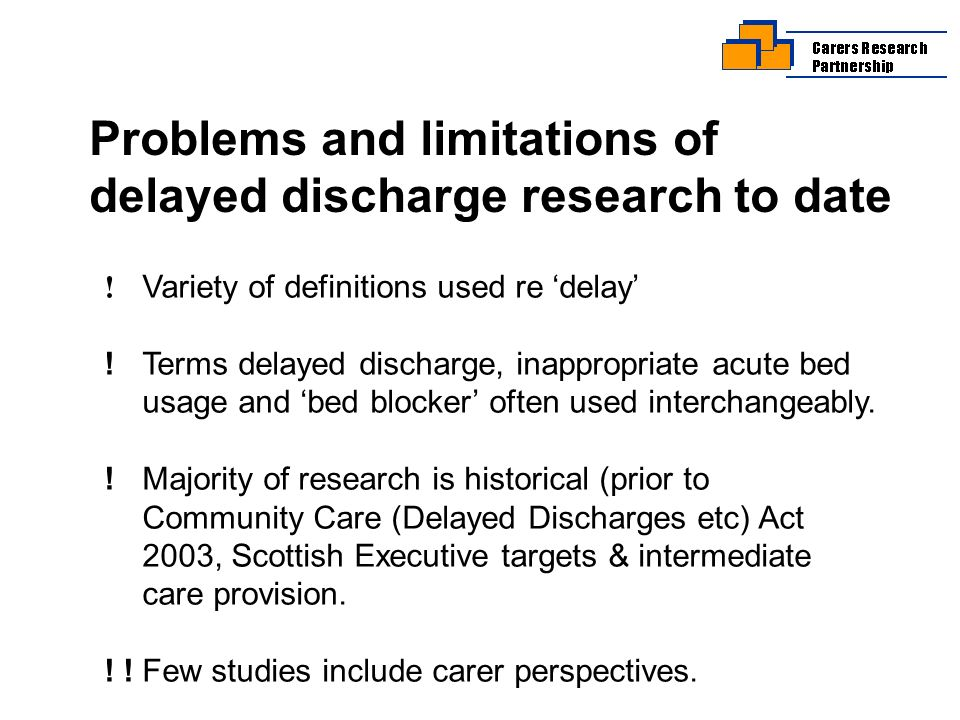 Problems and limitations of delayed discharge research to date .