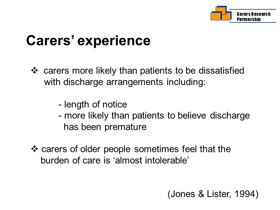 Research needs Focus on carers regarding their needs and preferences.
