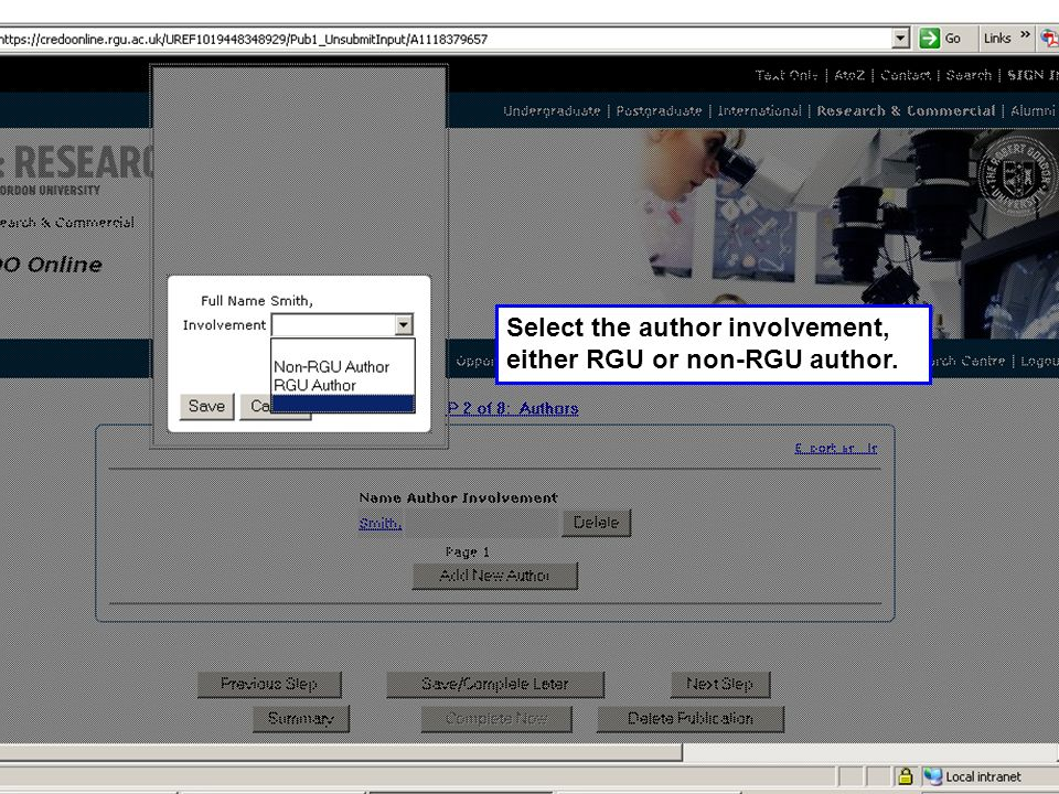 Select the author involvement, either RGU or non-RGU author.