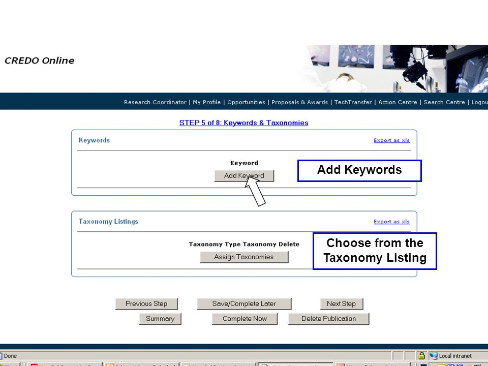 Add Keywords Choose from the Taxonomy Listing