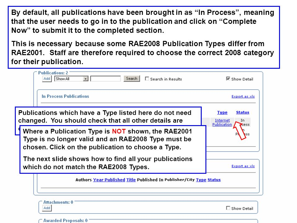 The search facility allows you to select all your publications which do not match the RAE2008 Publication Types.