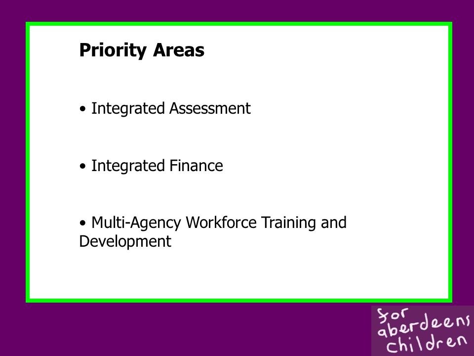 Priority Areas Integrated Assessment Integrated Finance Multi-Agency Workforce Training and Development