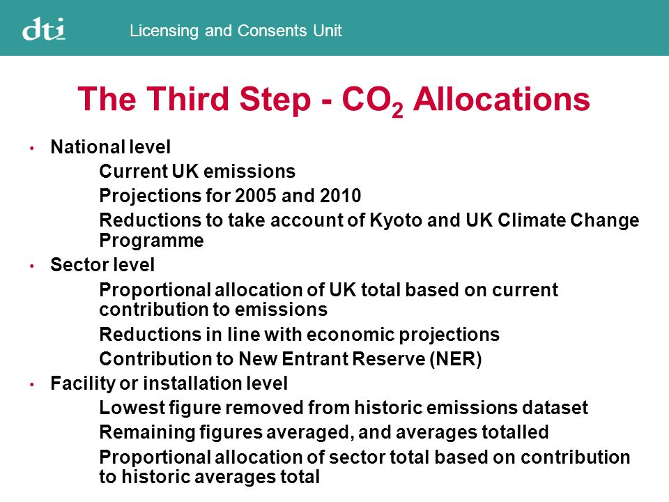 Licensing and Consents Unit The Third Step - CO 2 Allocations National level Current UK emissions Projections for 2005 and 2010 Reductions to take account of Kyoto and UK Climate Change Programme Sector level Proportional allocation of UK total based on current contribution to emissions Reductions in line with economic projections Contribution to New Entrant Reserve (NER) Facility or installation level Lowest figure removed from historic emissions dataset Remaining figures averaged, and averages totalled Proportional allocation of sector total based on contribution to historic averages total