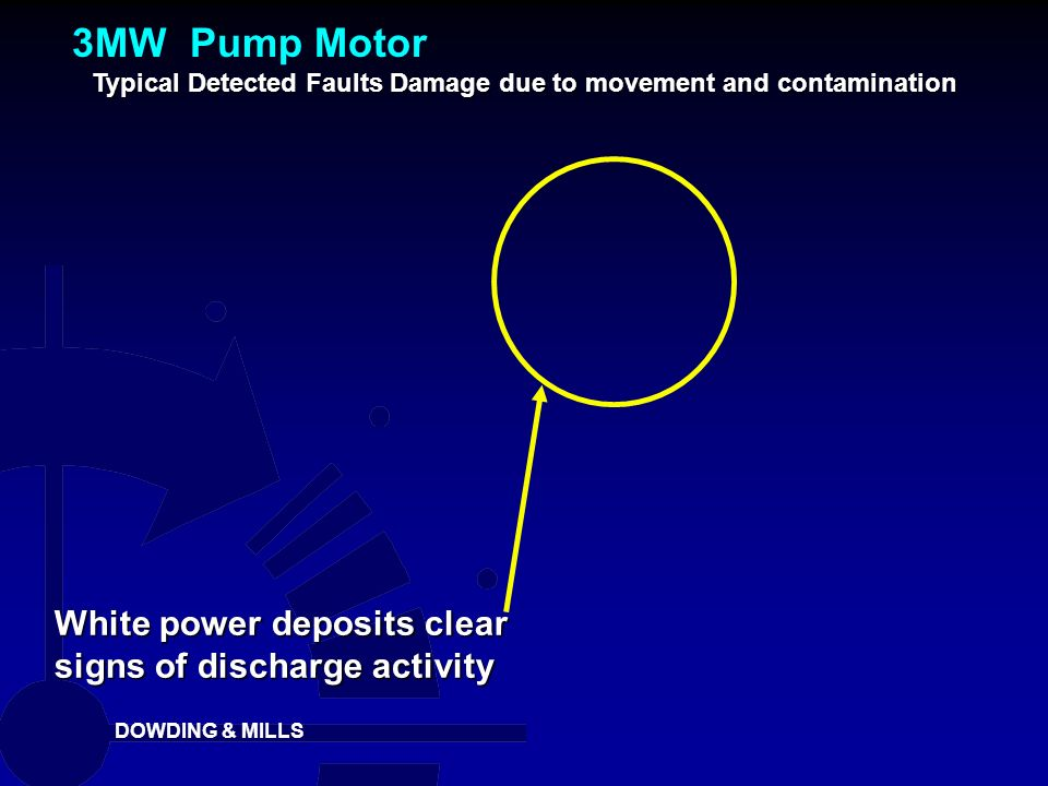 DOWDING & MILLS White power deposits clear signs of discharge activity Typical Detected Faults Damage due to movement and contamination 3MW Pump Motor