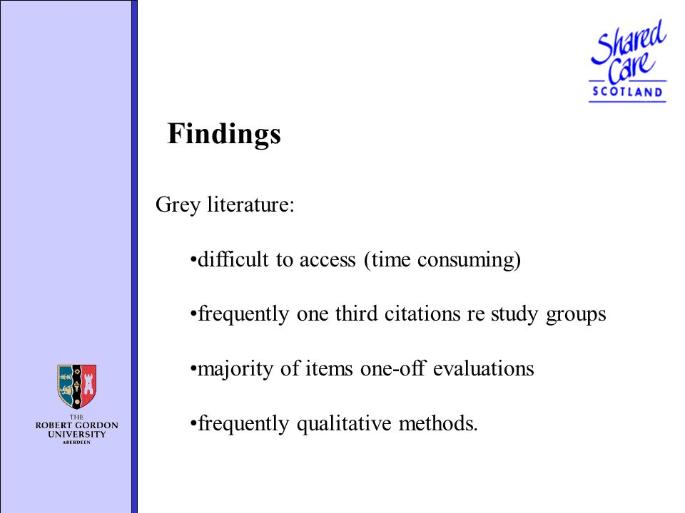 Grey literature: difficult to access (time consuming) frequently one third citations re study groups majority of items one-off evaluations frequently