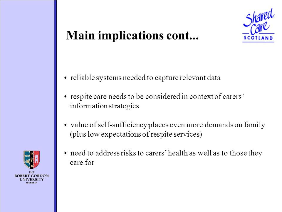 reliable systems needed to capture relevant data respite care needs to be considered in context of carers information strategies value of self-suffici