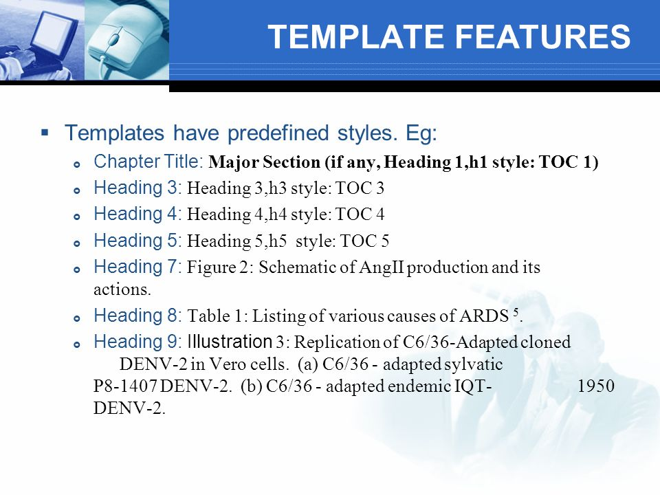 TEMPLATE FEATURES Builds Table of Contents with hyperlinked page numbers for entire dissertation from predefined styles.