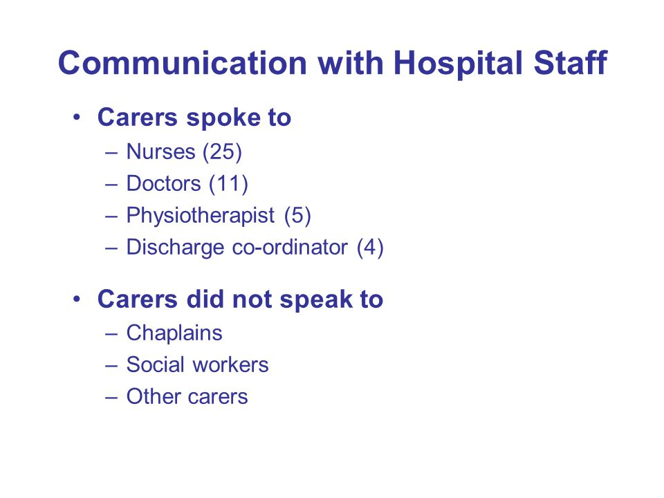Communication with Hospital Staff Carers spoke to –Nurses (25) –Doctors (11) –Physiotherapist (5) –Discharge co-ordinator (4) Carers did not speak to