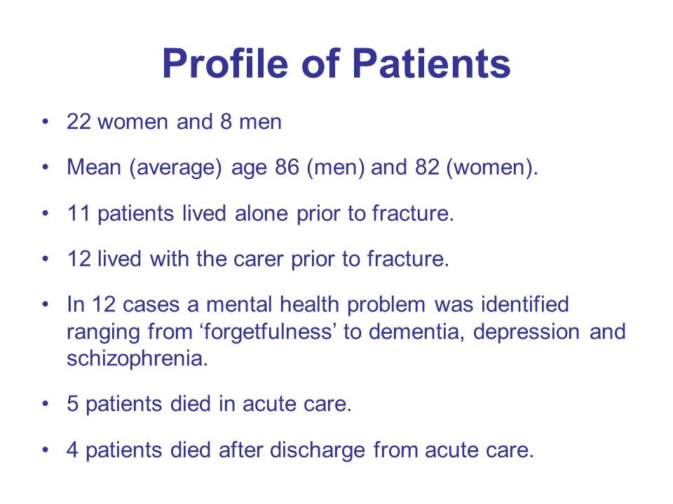 Profile of Patients 22 women and 8 men Mean (average) age 86 (men) and 82 (women).