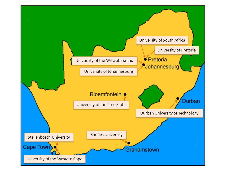 University of Johannesburg University of Pretoria University of the Witwatersrand University of the Free State Stellenbosch University University of the Western Cape Rhodes University University of South Africa Durban University of Technology