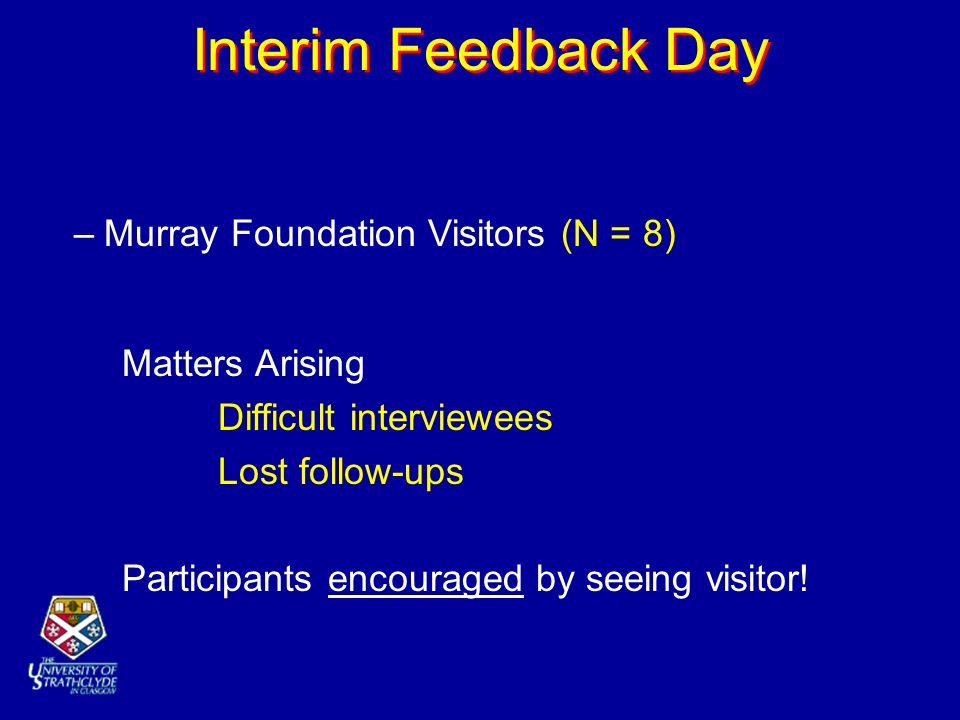Interim Feedback Day –Murray Foundation Visitors (N = 8) Matters Arising Difficult interviewees Lost follow-ups Participants encouraged by seeing visi