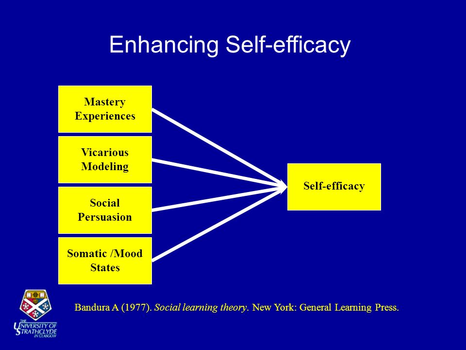 Enhancing Self-efficacy Vicarious Modeling Somatic /Mood States Social Persuasion Mastery Experiences Self-efficacy Bandura A (1977). Social learning