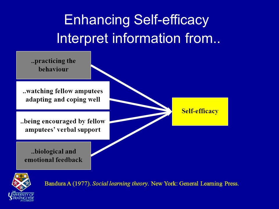 Interpret information from....biological and emotional feedback..practicing the behaviour Self-efficacy Bandura A (1977). Social learning theory. New