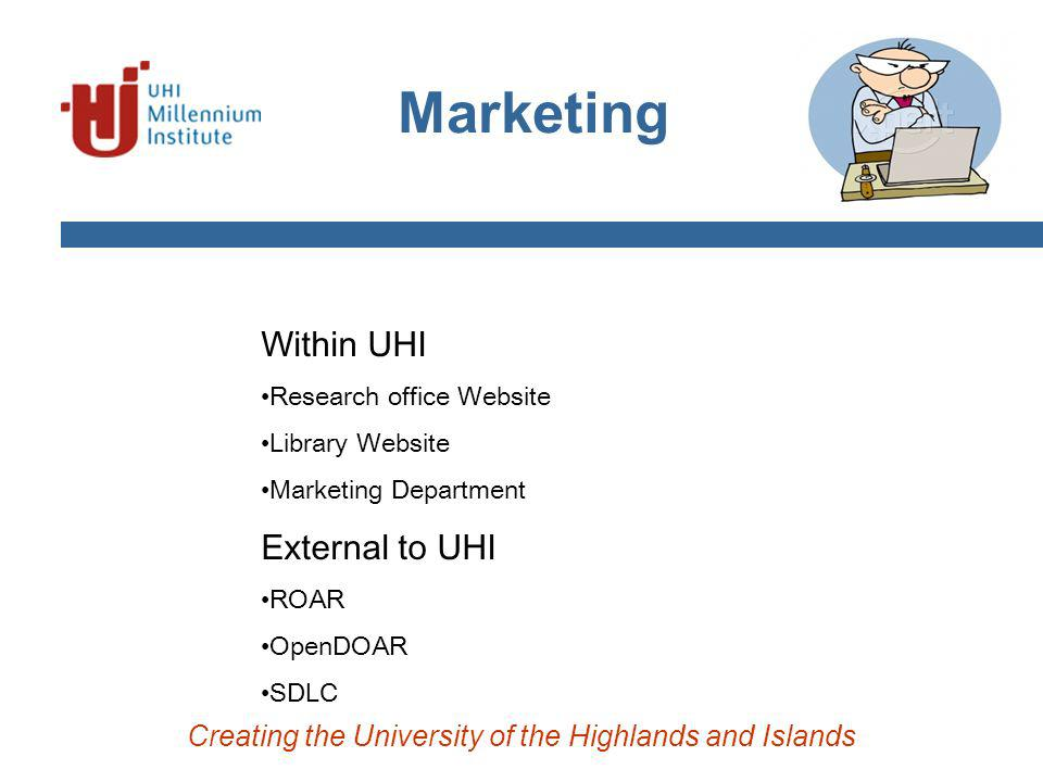 Creating the University of the Highlands and Islands Within UHI Research office Website Library Website Marketing Department External to UHI ROAR OpenDOAR SDLC Marketing