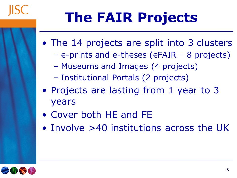 7 FAIR Clusters Museums and Images –Harvesting the FitzWilliam –Accessing the Virtual Museum –BioMed Image Archive –Hybrid Archives Institutional Portals –PORTAL –FAIR Enough