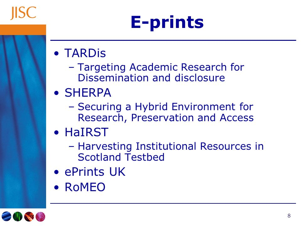 9 E-theses DAEDALUS –Data providers for Academic E-content and the Disclosure of Assets for Learning, Understanding and Scholarship Thesis Alive.