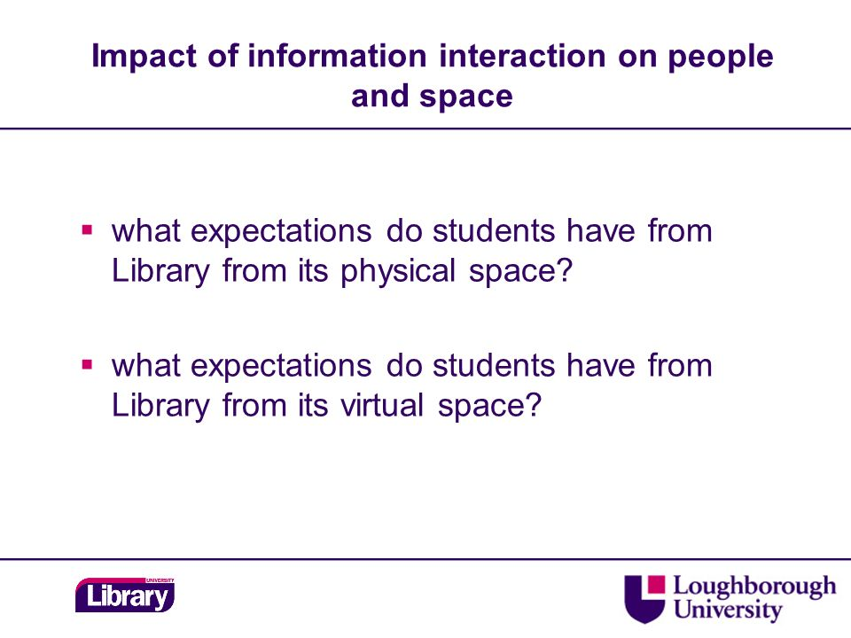 what expectations do students have from Library from its physical space.