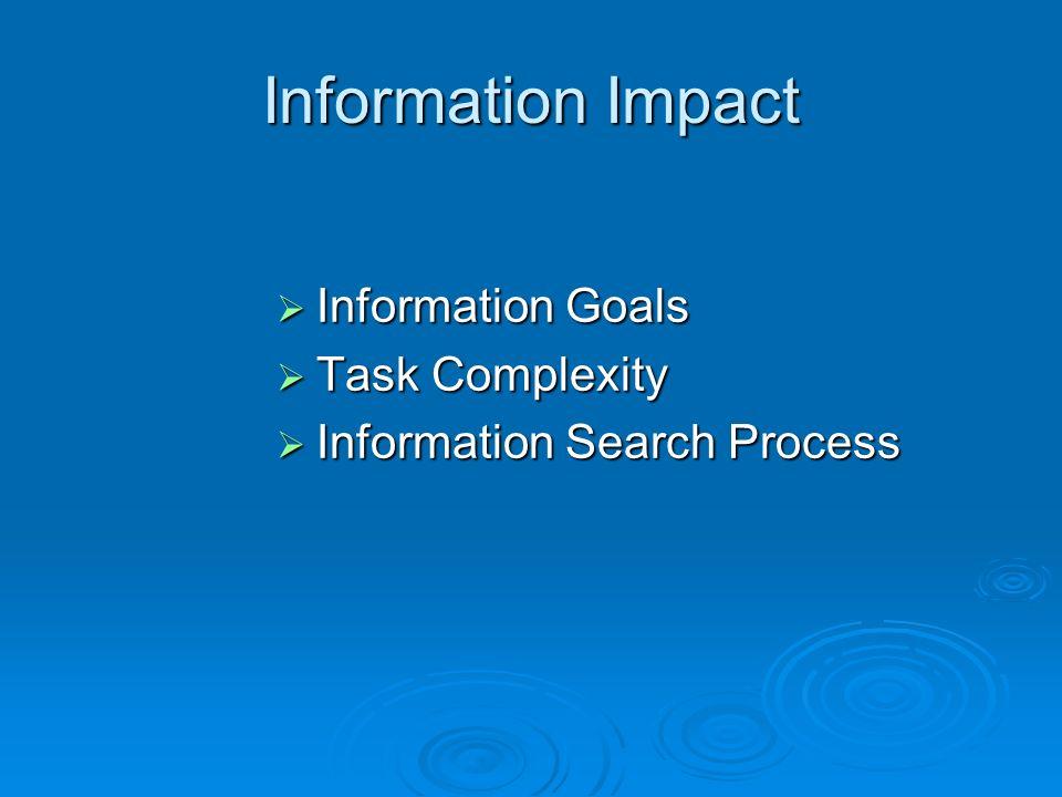 Information Impact Information Goals Information Goals Task Complexity Task Complexity Information Search Process Information Search Process