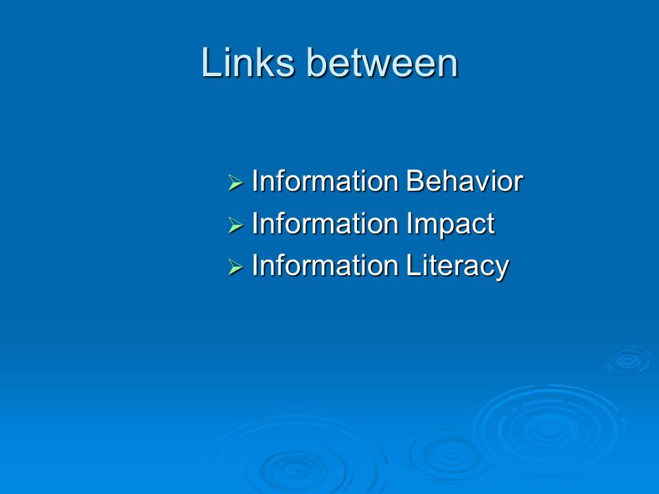 Links between Information Behavior Information Behavior Information Impact Information Impact Information Literacy Information Literacy