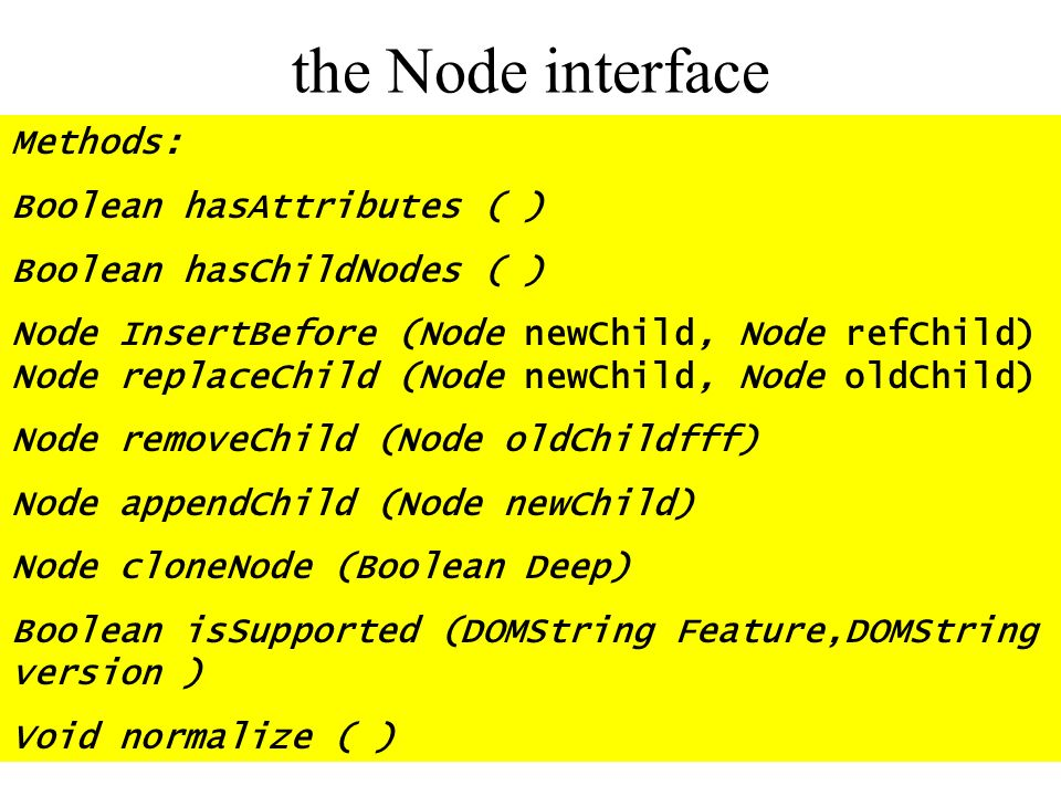 the Node interface Methods: Boolean hasAttributes ( ) Boolean hasChildNodes ( ) Node InsertBefore (Node newChild, Node refChild) Node replaceChild (No