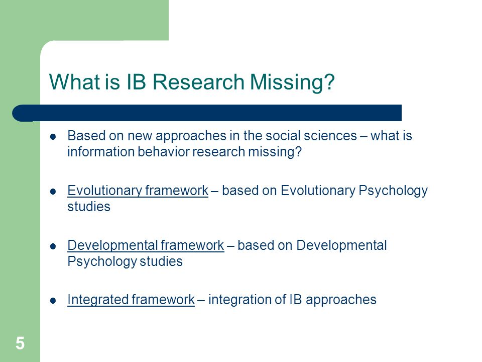 5 What is IB Research Missing.