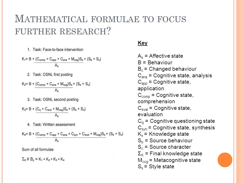M ATHEMATICAL FORMULAE TO FOCUS FURTHER RESEARCH .