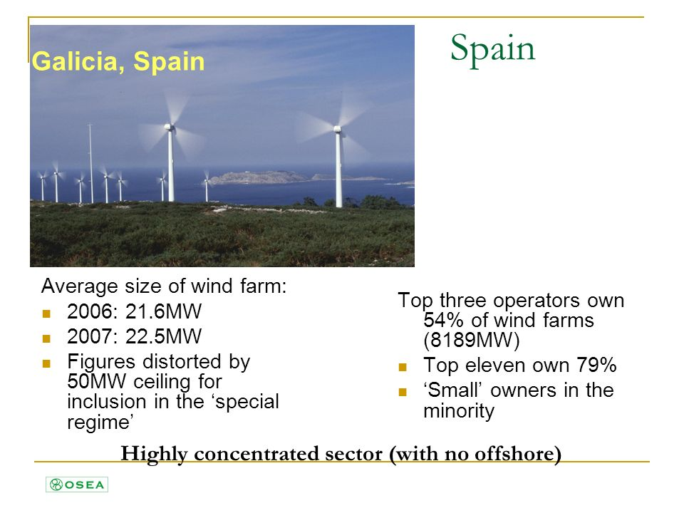 Galicia, Spain Spain Average size of wind farm: 2006: 21.6MW 2007: 22.5MW Figures distorted by 50MW ceiling for inclusion in the special regime Top three operators own 54% of wind farms (8189MW) Top eleven own 79% Small owners in the minority Highly concentrated sector (with no offshore)