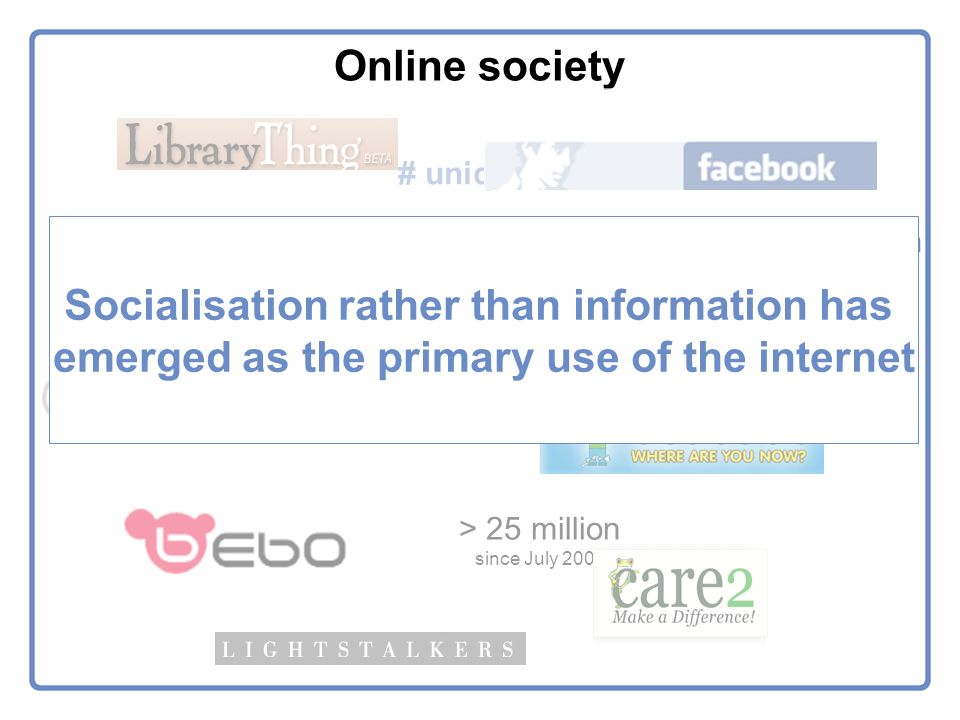 Online society # unique members > 100 million > 30 million > 25 million since July 2005 News Corporation $850 million Socialisation rather than information has emerged as the primary use of the internet